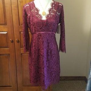 Boston Proper wine-colored lace dress, NWT